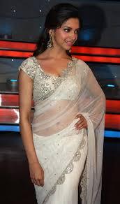 deepika padukone in transparent white saree photos spicy pics