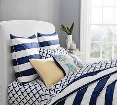 Navy Stripe Comforter Set Marlo Stripe Comforter U0026 Sham Pottery Barn