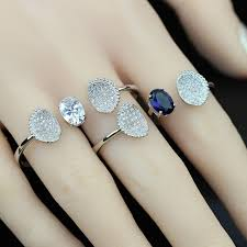 zircon rings images Open ring continuous loop 2 ring 925 sterling silver blue zircon jpg