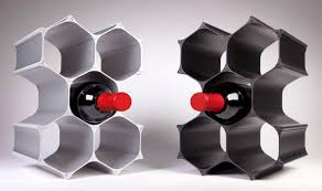 modern acrylic modular wine racks in black and white color of