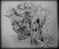 hannya mask on chest for photos pictures and