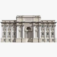 trevi fountain building facade 3d model by molier landmark rome