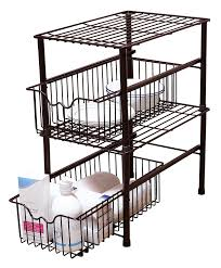 amazon com decobros stackable under sink cabinet sliding basket