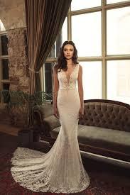 ivory plunging v neck sleeveless mermaid lace bridal wedding gown