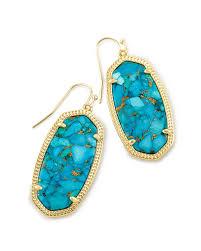 turquoise drop earrings drop earrings in bronze veined turquoise kendra