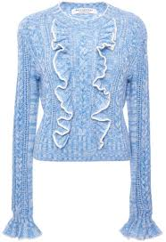 light blue cable knit sweater serafini philosophy di lorenzo light blue ruffle cable knit pullover