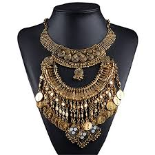 gold statement necklace jewelry images Lanue vintage choker coin tassels hippie boho bib jpg