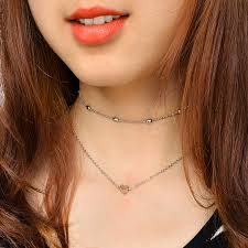 heart chain choker necklace images 2pcs set gold heart collier chain choker necklace for women boho jpg