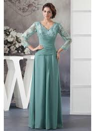 color v neck chiffon lace wedding guest dress with sleeves