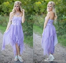 2017 lavender country bridesmaid dresses high low strapless