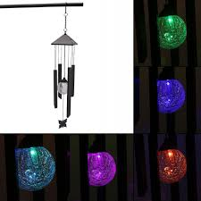 solar powered wind chime light solar powered colour changing led windchime outdoor garden metal
