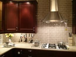 subway tile backsplash installation dark brown varnished wooden