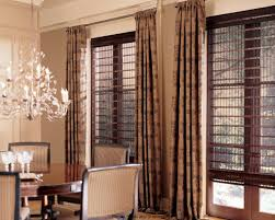 beautiful high ceiling window treatments with brown patterned