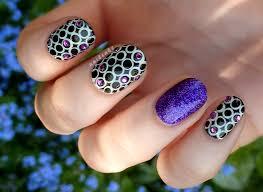 nail cake monochrome circles rhinestones x nubar violet sparkle