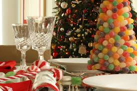 bedroom amusing christmas decorations for tables by colorful fruits