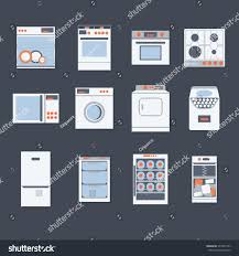 Household Trash Compactor Flat Design Set Modern Icons Home Stock Vector 377872747