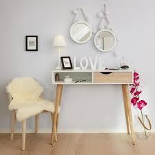 Schreibtisch 95 Cm Breit Schreibtisch In Weiß Oberfläche Massive Eiche Unbehandelt