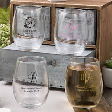wine wedding favors 9oz stemless wine glasses from fashioncraft s silkscreened