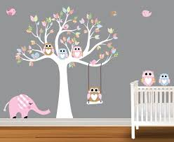 Tree Nursery Wall Decal Colourful Tree Baby Room Ideas Wall Decals Birds Leaves Elephant