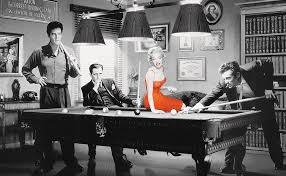 pool table wall art james dean elvis presley marilyn monroe red dress billiards table