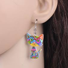 cat earrings silly cool cat earrings multicolored kaboodleworld