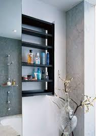 bathroom corner shelving dark brown glossy curved open shelving