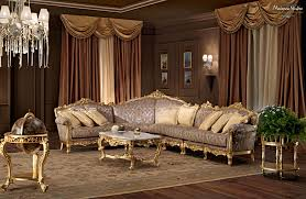 Villa Decoration by Salon With Carved Furniture Decorated With Gold Leaf Applications