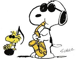 Snoopy playing saxophone
