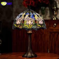 fumat glass table lamp garden blue tulip bedside decor table lamp