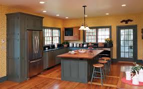 blue kitchen cabinets yellow walls kitchen decoration