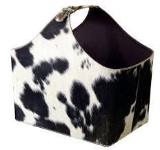 cowhide choco magazine basket by alta home luxemoderndesign com