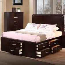 dark brown lacquered oak bed frame which equipped with pile up