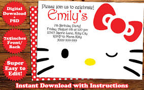 instant download hello kitty birthday invitation red template
