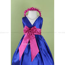 dress blue royal v dress with fuchsia bow sash easter