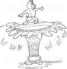 clip art of a black and white pitbull dog surfing on sprinkler