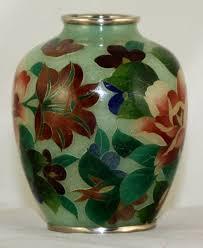 Enamel Vase Japanese Showa Plique A Jour Cloisonne Enamel Vase