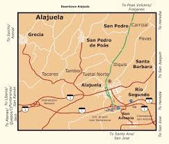 Costa Rica Airports Map Costa Rica Map Of Alajuela City Large Detailed Map Of Alajuela