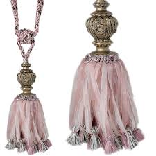 Large Drapery Tassels Jones Curtain Tieback Florentine Ribbon Chalk Pink Just