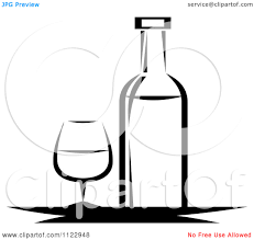 martini glasses clinking glass black and white clipart 47