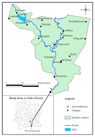 Ivory Coast Map Of The District Of Tiassalé In South Côte D U0027