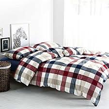 Duvet Covers Plaid Amazon Com Easy Care Cotton Rich Kelso Check Reversible King