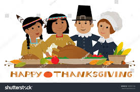 happy thanksgiving pilgrim thanksgiving sign pilgrims stock vector