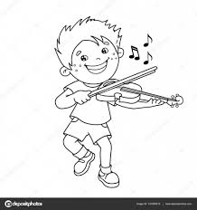 coloring outline cartoon boy playing violin musical
