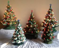 wow lot of 5 vintage ceramic christmas trees atlantic nowell