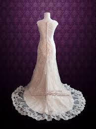 Champagne Wedding Dresses Modest Vintage Lace Champagne Wedding Dress With Cap Sleeves