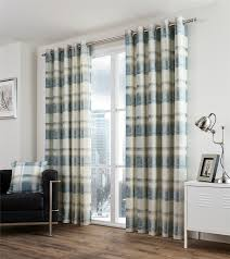 plaid check teal beige lined 100 cotton ring top curtains 7