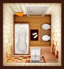 Modern Bathroom Plans 3d Rendering Of The Modern Bathroom From Top View Stock Photo