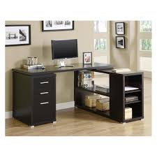 Modern Bureau Desks by L Shaped Black High Gloss Finished Solid Wood Computer Desk With