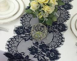 Navy Blue Lace Table Runner Light Blue Lace Wedding Table Runner