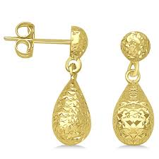 gold teardrop earrings textured dangle teardrop earrings in 14k yellow gold allurez